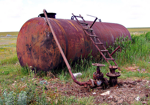 rusty tank - oil well (bulgaria), crude oil, ladder, oil field, oil well, pipe, rusty, tyulenovo, valves