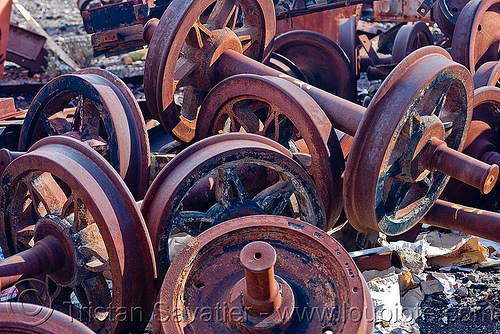 rusty train axles - wheels, axles, bolivia, enfe, fca, railroad, railway, rusty, scrapyard, train cemetery, train graveyard, train junkyard, uyuni