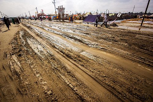 ruts on muddy road (india), hindu, hinduism, kumbha mela, maha kumbh mela, mud ruts, muddy road, muddy street