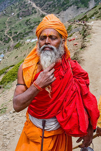 sadhu (hindu holy man) - amarnath yatra (pilgrimage) - kashmir, amarnath yatra, baba, beard, hindu holy man, hinduism, kashmir, mountain trail, mountains, old man, pilgrim, pilgrimage, sadhu, trekking, yatris, अमरनाथ गुफा
