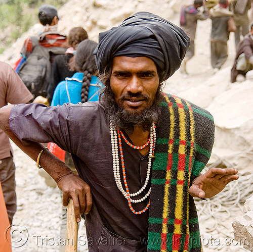 sadhu (hindu holy man) - amarnath yatra (pilgrimage) - kashmir, amarnath yatra, baba, beard, hiking, hindu holy man, hindu pilgrimage, hinduism, india, kashmir, mountain trail, mountains, necklaces, pilgrim, sadhu, trekking