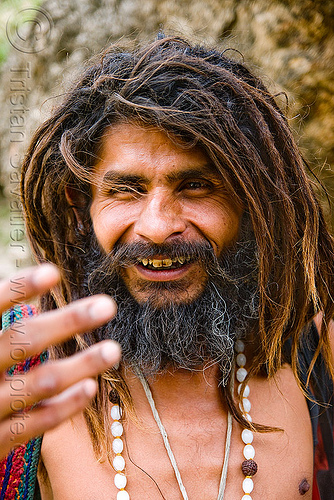 sadhu (hindu holy man) - amarnath yatra (pilgrimage) - kashmir, amarnath yatra, baba, bad teeth, beard, decayed teeth, dreadlocks, dreads, hindu holy man, hinduism, kashmir, mountain trail, mountains, pilgrim, pilgrimage, sadhu, trekking, yatris, अमरनाथ गुफा