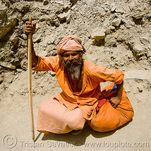 sadhu (hindu holy man) - amarnath yatra (pilgrimage) - kashmir, amarnath yatra, baba, beard, bhagwa, hiking cane, hindu holy man, hindu pilgrimage, hinduism, india, kashmir, old man, pilgrim, resting, sadhu, saffron color, trekking, walking stick