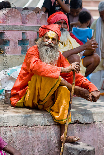 sadhu (hindu holy man) - orchha (india), baba, beard, bhagwa, hindu holy man, hinduism, india, old man, orchha, sadhu, saffron color, tilak