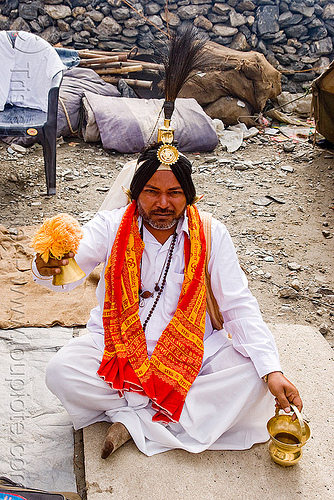 sadhu (hindu holy man) with ceremonial head dress - amarnath yatra (pilgrimage) - kashmir, amarnath yatra, baba, hindu holy man, hinduism, kashmir, people, pilgrim, pilgrimage, sadhu, trekking, yatris, अमरनाथ गुफा