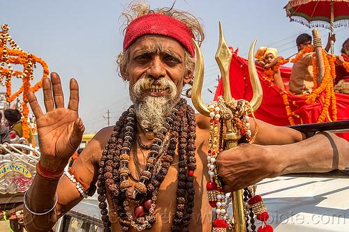 sadhu with rudraksha beads and trident - kumbh mela (india), baba, beard, hindu, hinduism, kumba mela, kumbh maha snan, kumbha mela, maha kumbh mela, man, mauni amavasya, necklaces, rudraksha beads, sadhu, trident