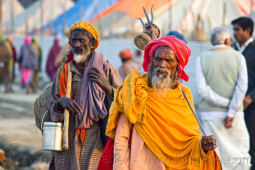 sadhu with trident - kumbh mela 2013 (india), baba, bhagwa, damaru drum, hindu holy man, hindu pilgrimage, hindu ritual drum, hinduism, india, maha kumbh mela, men, pilgrim, sadhu, saffron color, small drum, trident, white beard