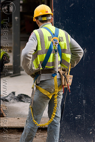 safety harness - helmet - reflective vest - construction worker, building construction, high-visibility jacket, high-visibility vest, lanyards, people, reflective jacket, safety helmet, tool belt