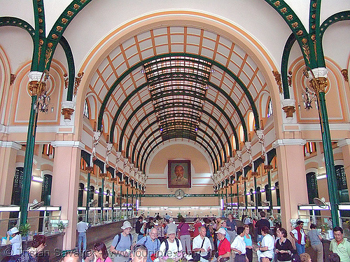 saigon's central post office - gustave eiffel - vietnam, gustave eiffel, ho chi minh city, post office, saigon