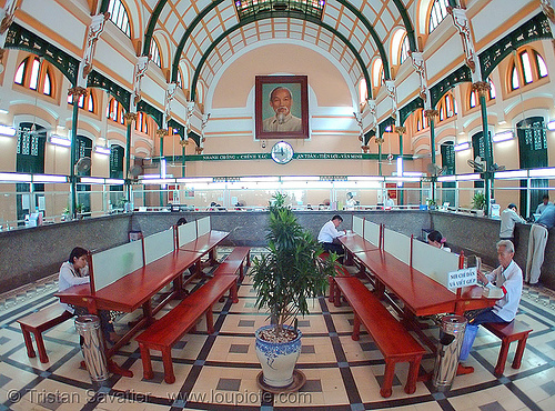 saigon's central post office - gustave eiffel - vietnam, fisheye, gustave eiffel, ho chi minh city, post office, saigon