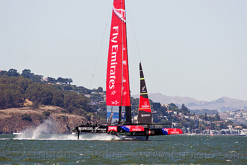 sailing hydrofoil catamaran emirates team new zealand - america's cup 2013 race (san francisco), ac72, advertising, america's cup, bay, boat, catamaran, emirates team new zealand, fast, foiling, hydrofoil catamarans, hydrofoiling, ocean, race, racing, sailboat, sailing hydrofoils, sea, ship, speed, sponsors, water
