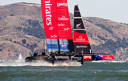 sailing hydrofoil catamaran emirates team new zealand - america's cup 2013 race (san francisco), ac72, advertising, america's cup, bay, boat, catamaran, emirates team new zealand, fast, foiling, hydrofoil catamarans, hydrofoiling, race, racing, sailboat, sailing hydrofoils, ship, speed, sponsors