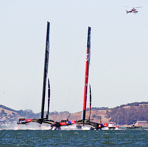 sailing hydrofoil catamarans - neck and neck - america's cup 2013 race (san francisco), ac72, america's cup, bay, boats, emirates team new zealand, fast, foiling, helicopter, hydrofoil catamarans, hydrofoiling, ocean, oracle team usa, race, racing, sailboat, sailing hydrofoils, sea, ships, speed, two, water