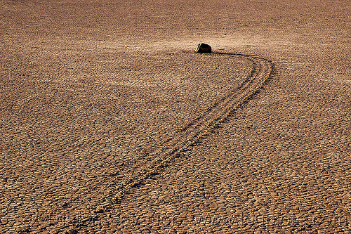 sailing stone on the racetrack - death valley, cracked mud, death valley, desert, dry lake, dry mud, moving rock, racetrack playa, sailing stone, sliding rock, track