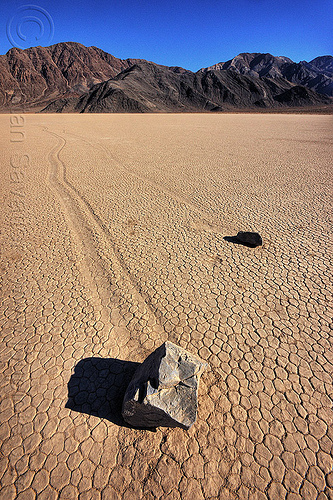 sailing stones on the racetrack (death valley), cracked mud, death valley, desert, dry lake, dry mud, mountains, moving rocks, racetrack playa, sailing stones, sliding rocks, tracks