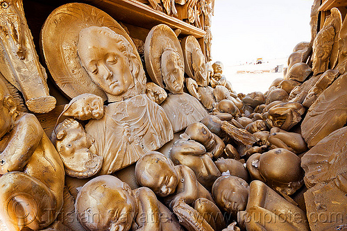 saints and fetuses golden castings - EGO project - burning man 2012, art installation, burning man, castings, fetus, fetuses, golden, plaster, saints, the ego project
