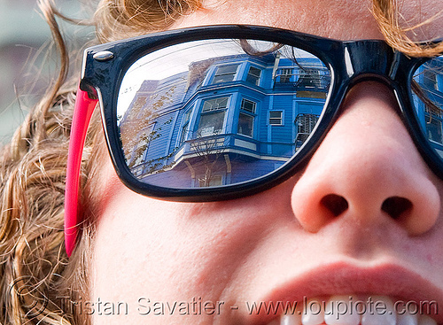 san francisco california, bay windows, blue house, mirror, natalie, reflection, sunglasses, victorian house, woman