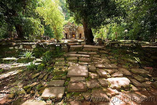 sanctuary (main shrine) - wat phu champasak (laos), goddess, hindu temple, hinduism, khmer temple, main shrine, ruins, sanctuary, sculpture, statue, stone paving, stone slabs, wat phu champasak