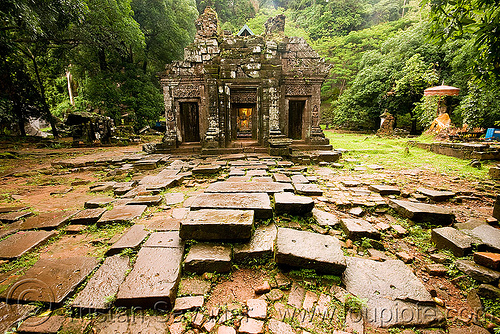 sanctuary - wat phu champasak (laos), khmer temple, laos, main shrine, stone pavement, stone paving, wat phu champasak