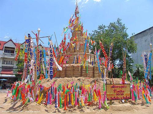 เจดีย์ทราย - sand pagoda - เชียงใหม่ - chiang mai - สงกรานต์ - songkran festival (thai new year) - thailand, banners, water festival, ประเทศไทย