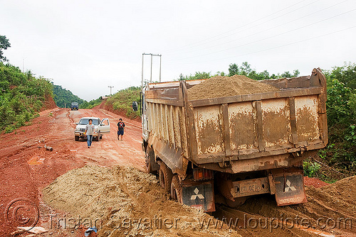 sand truck stuck in sand (laos), dirt road, heavy, laos, lorry, mitsubishi, mud, ruts, sand truck, unpaved