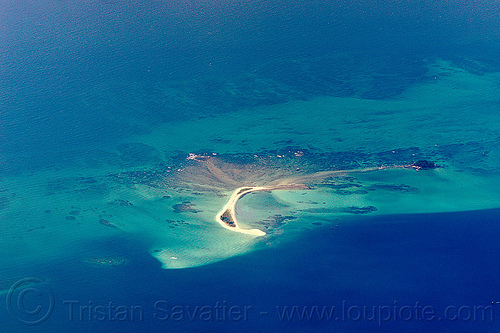 sandbar near pulau tiga island, aerial photo, coral reef, ocean, sea