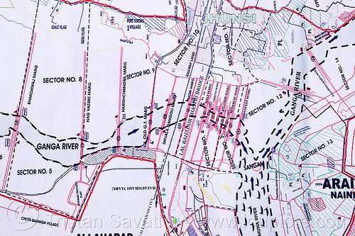 sangam map - kumbh mela 2013, confluence, ganga river, ganges river, hindu, hinduism, kumbh mela map, kumbha mela, maha kumbh, maha kumbh mela, rivers, triveni sangam, yamuna river