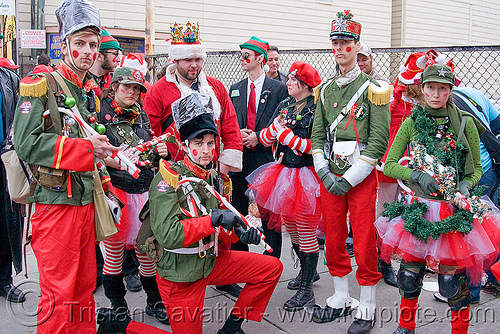 santa army - santacon (san francisco), army, christmas, costumes, edw-lynch, evan wagoner-lynch, military, santa claus, santacon, santarchy, santas, soldiers