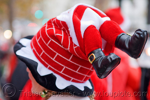 santa chimney hat, chimney, christmas, costumes, feet, hat, sa, santacon, santarchy, santas