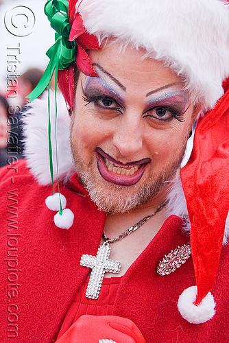 santa claus drag queen - sisters of perpetual indulgence (san francisco), beard, christmas, costumes, cross, drag queen, knot, makeup, man, nun, ribbon, santa claus, santacon, santarchy, santas, sisters of perpetual indulgence