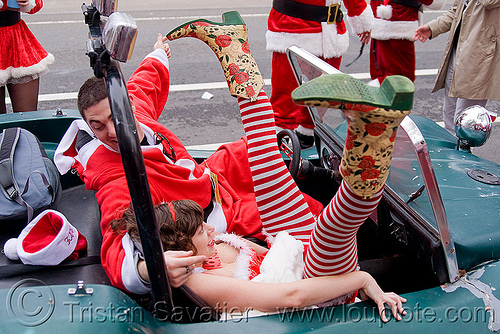 santa claus party in dune buggy, car, christmas, costumes, cowboy boots, dune buggy, fishnet stockings, fishnet tights, legs, man, santa claus, santacon, santarchy, santas, volkswagen, woman