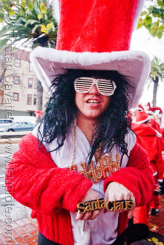 santa pimp - santacon 2009 - santa claus convention (san francisco), christmas, costume, man, red, santa claus, santa pimp, santacon, santarchy, santas, the triple crown