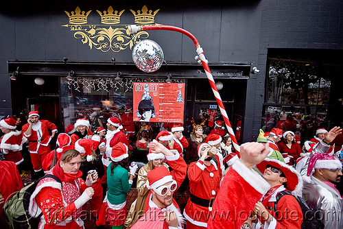 santacon 2009 - santa claus convention (san francisco), candy cane, christmas, costumes, crowd, disco ball, mirror ball, red, santa claus, santacon, santarchy, santas, sugar cane, the triple crown