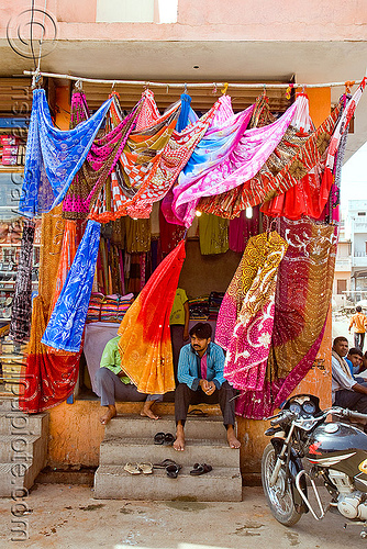 saree shop (india), cloth, man, sanawad, sarees, saris, shop, sitting, store, street