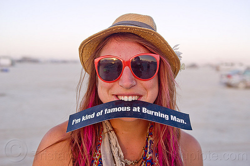 sari blum - burning man 2012, bumper sticker, burning man, famous burner, hat, red sunglasses, sari, woman