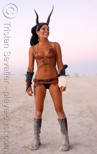 satyr - burning man 2008, burning man, costume, horns, leather, luiza, playa, satyr, woman