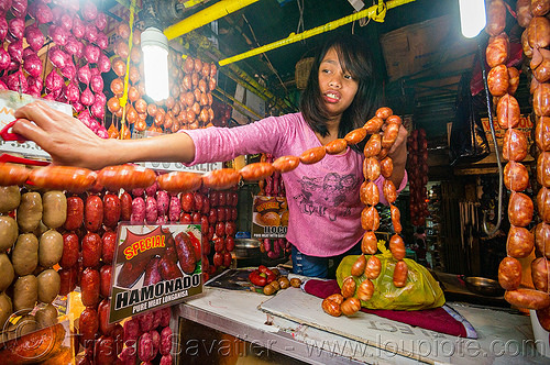 sausage links - sausage shop in baguio (philippines), baguio, links, merchant, philippines, sausages, shop, stall, vendor, woman