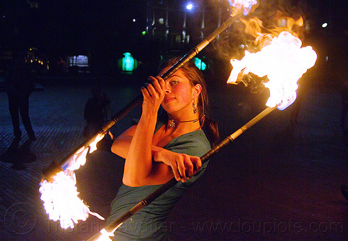 savanna spinning double fire staff, double staff, fire dancer, fire dancing, fire performer, fire spinning, fire staffs, fire staves, flames, night, savanna, spinning fire, woman