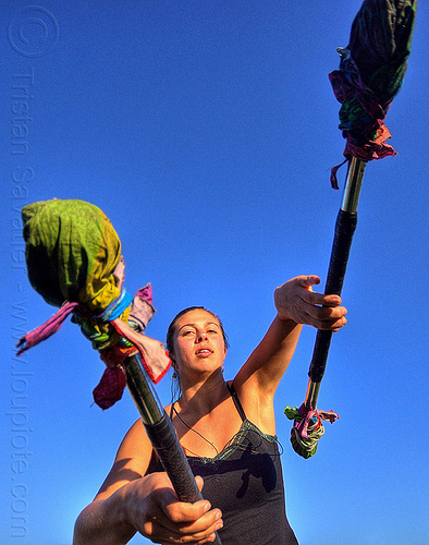 savanna spinning double staff, blue sky, dolores park, people, staffs, staves, woman