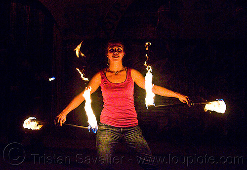 savanna spinning fire staffs, double staff, fire dancer, fire dancing, fire performer, fire spinning, fire staffs, fire staves, flames, night, savanna, spinning fire, woman