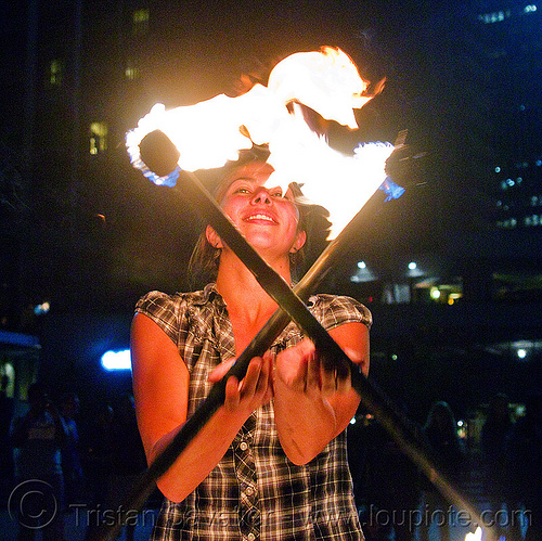 savanna spinning fire staffs, crossed, double staff, fire dancer, fire dancing, fire performer, fire spinning, fire staffs, fire staves, flames, night, savanna, spinning fire, woman
