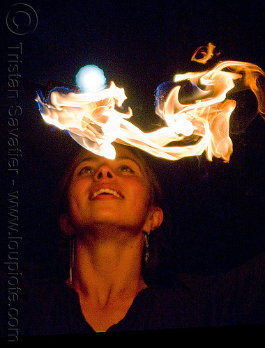 savanna spinning fire under the full moon, double staff, fire dancer, fire dancing, fire performer, fire spinning, fire staffs, fire staves, flames, full moon, night, savanna, spinning fire, woman