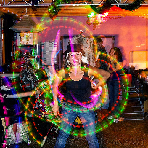 savanna spinning LED poi, flowtoys, glow poi, hat, led poi, light trails, long exposure, savanna, woman