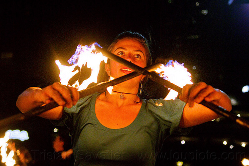 savanna with double fire staff, crossed, double staff, fire dancer, fire dancing, fire performer, fire spinning, fire staffs, fire staves, night, savanna, spinning fire, woman