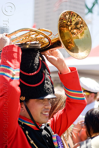 sax-horn player red marching band uniform, daxhorn, gay pride festival, man, marching band, people, rainbow colors, sax-horn player, uniform