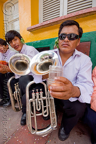 saxhorn player - banda rey imperial from potosi - carnaval - carnival in jujuy capital (argentina), andean carnival, argentina, banda rey imperial, jujuy capital, man, marching band, noroeste argentino, san salvador de jujuy, saxhorn