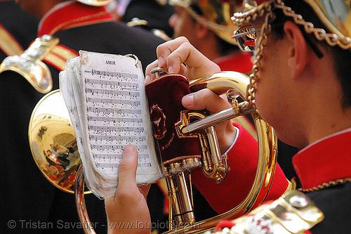 saxhorn player reading music - amor - hermandad de san bernardo - semana santa en sevilla, andalucía, capirotes, cofradía, easter, hermandad de san bernardo, nazarenos, parade, procesión, procession, red, religion, semana santa, sevilla