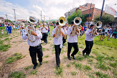 saxhorn players - carnival in jujuy capital (argentina), andean carnival, argentina, banda rey imperial, jujuy capital, marching band, men, noroeste argentino, san salvador de jujuy, saxhorn players
