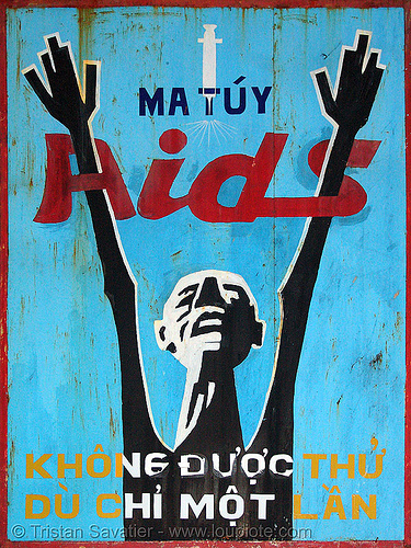 say no to drugs and AIDS - vietnam, aids, blue, red, sign, vietnam