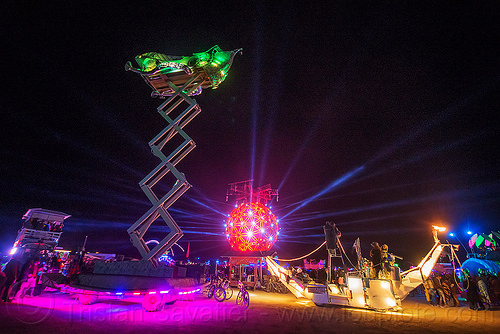 scissor lift art car at night - burning man 2015, boat, burning man, cherrypicker, crescent, elevator, fly me to the moon art car, glowing, mutant vehicles, night, scissor lift, ship, the ball, unidentified art car